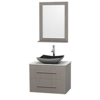 Wyndham Collection Centra 30 inch Single Bathroom Vanity in Espresso, Ivory Marble Countertop, Altair Black Granite Sink, and 24 inch Mirror