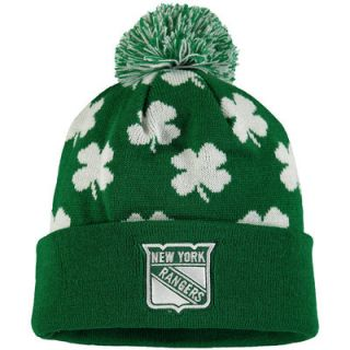 New York Rangers Old Time Hockey St. Patricks Day Aiden Cuffed Knit Hat with Pom   Green
