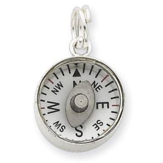 Sterling Silver 3D Moveable Compass Charm (0.7in long x 0.5in wide)