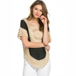 Kate Marie Womens 3/4 Sleeve Laced Crochet Poncho   18575975