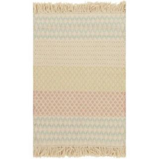2' x 3' Fringed Pattern Segments Tan, Salmon Pink and Teal Hand Loomed Wool Area Throw Rug