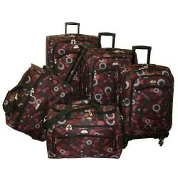 American Flyer Red Art Deco 5 piece Spinner Luggage Set   13297853