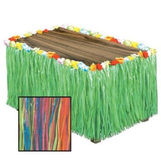 Pack of 6 Tropical Rainbow Colored Artificial Grass Hawaiian Themed Party Table Skirts 9'