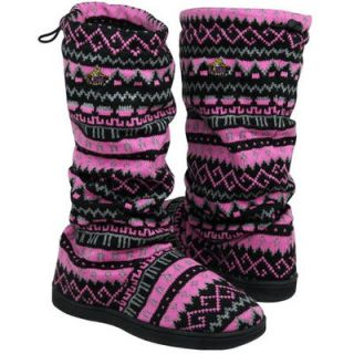 LSU Tigers Womens Jacquard Knit Logo Boots   Pink/Black