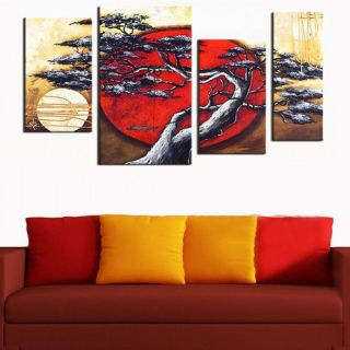 DesignArt Japanese Tree 4 Piece Original Painting on Canvas Set