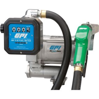 GPI 115V Fuel Transfer Pump with Meter  — 20 GPM, Includes Hose and Auto Nozzle, Model# M-3120-AD/MR 5-30-G8N  AC Powered Fuel Pumps