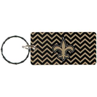 New Orleans Saints Chevron Printed Acrylic Team Color Logo Keychain