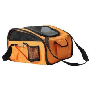 PET LIFE Orange Ultra Lock Collapsible Safety Travel Wire Folding Dog Car Seat Carrier 2CSOR