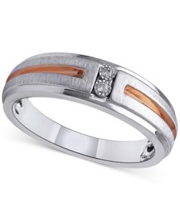 Diamond Accent Mens Wedding Band in Sterling Silver and 14k Rose Gold