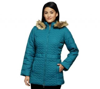 Isaac Mizrahi Live! Quilted Coat w/ Faux Fur Trimmed Hood —