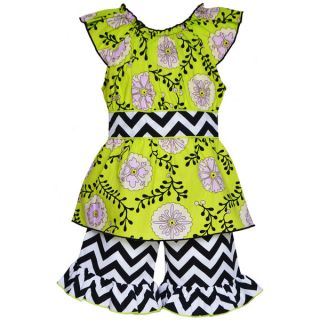 AnnLoren Boutique Girls Rose Vine and Chevron Tunic with Shorts