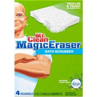 Mr. Clean Magic Eraser Bath Scrubber Febreze Meadows & Rain Scent Cleaning Pads, 4 count