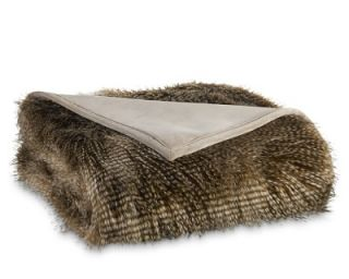 Williams Sonoma Faux Fur Blanket, Brown Owl Feather