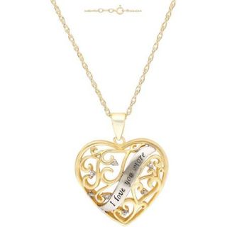 "Diamond Accent 18kt Yellow Gold over Sterling Silver ""I Love You More"" Heart Pendant, 18"""