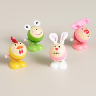 Easter Animals Wooden Wind Up Toys, Set of 4