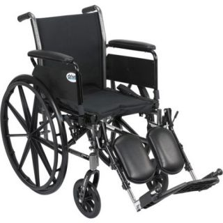 "Drive Medical Cruiser III Light Weight Wheelchair with Flip Back Removable Arms, Full Arms, Elevating Leg Rests, 16"" Seat"