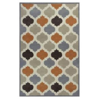 Kas Rugs Moroccan Tile Ivory/Orange 5 ft. x 8 ft. Area Rug ETE10685X8
