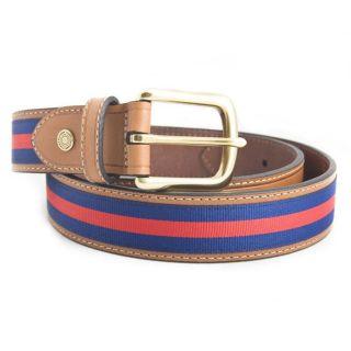 Tommy Hilfiger Mens Blue and Red Regimental Fabric Stripe Belt