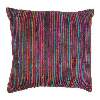 Blazing Needles 20 inch Black Rainbow Yarn Threading Throw Pillow