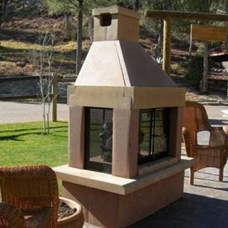 Mirage Stone See Through Outdoor Fireplace with Gas Log Kit   Fireplaces & Chimineas