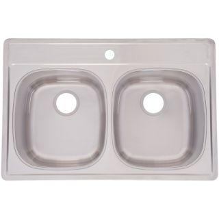 Franke USA Frankeusa 22 in x 33 in Satin Deck and Silk Bowls Double Basin Stainless Steel Drop In Kitchen Sink