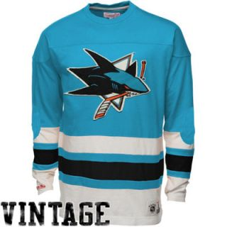 Mitchell & Ness San Jose Sharks Line Change Long Sleeve T Shirt   Teal