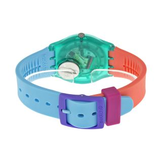 Swatch Candy Parlour Light Blue Dial Multi Color Silicone Ladies Watch