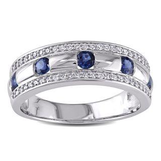 14k White Gold Sapphire and 1/4ct TDW Diamond Wedding Band (H I, I1 I2