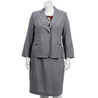 First Lady Womens Plus Size Grey 3 piece Skirt Suit