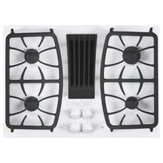 GE Profile 30 in. Gas on Glass DownDraft Gas Cooktop in White with 4 Burners PGP9830TJWW