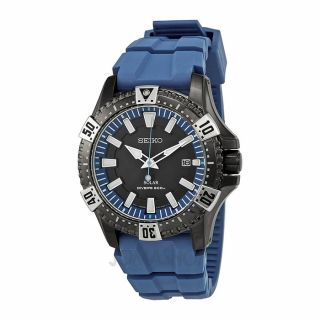 Seiko Solar Grey Dial Blue Rubber Divers Mens Watch SNE283   Prospex