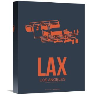 Naxart Studio LAX Los Angeles Luggage Tag 3 Stretched Canvas Wall