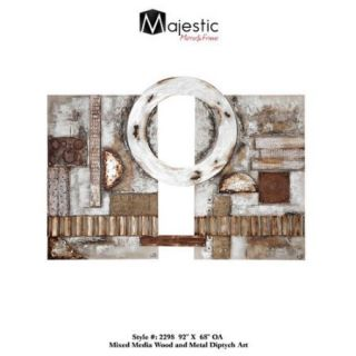 Majestic Mirror Large Oversized Horizontal Wood And Metal Diptych Style Hanging Wall Art