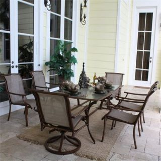 Hospitality Rattan 7 PC SET 920 D3 SWIVEL2 Chub Cay Patio 7 Piece Set   4 Arm Chairs 2 Swivel Rocking Chairs and Rectangular Table in Dark Bronze