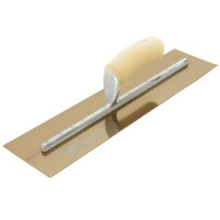 11 in. x 4 1/2 in. Golden Stainless Steel Curved Wood Handle Finishing Trowel MXS1GS