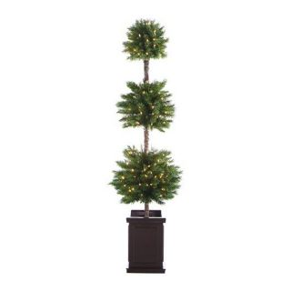 Christmas Central 6 ft Pre Lit Triple Ball Topiary Artificial Christmas Tree with 140 Count White Incandescent Lights