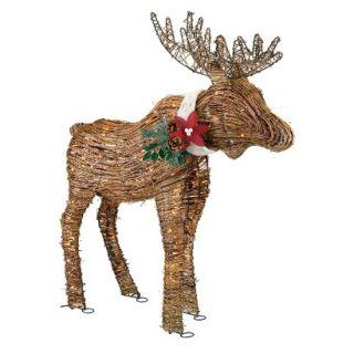 Holiday Lighted Rattan Moose   70lt Mini Bulbs