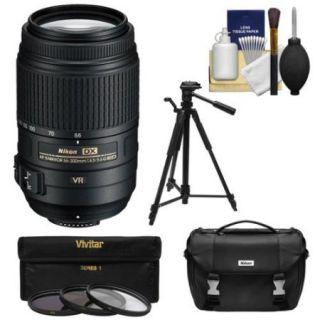 Nikon 55 300mm f/4.5 5.6G VR DX AF S ED Zoom Nikkor Lens   Factory Refurbished includes Full 1 Year Warranty + 3 UV/CPL/ND8 Filters + Tripod + Nikon Case + Cleaning Kit
