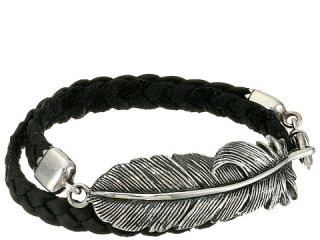 King Baby Studio Double Wrap Leather Bracelet with Raven Feather Black/Silver