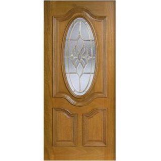 Main Door 32 in. x 80 in. Mahogany Type 3/4 Oval Glass Prefinished Golden Oak Beveled Brass Solid Wood Front Door Slab SH 557 GO B 32in