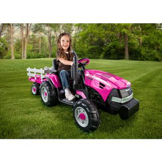 Peg Perego Case IH Magnum Tractor with Trailer 12 Volt Quad Powered Ride On   Pink    Peg Perego