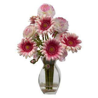 Nearly Natural Delight Gerber Daisy and Ranunculus Silk Flower   Silk Flowers