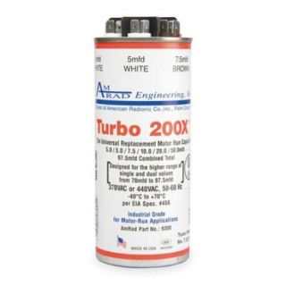 GLOBAL Turbo 200X Motor Run Capacitor, 5 97.5 MFD, 370/440V