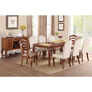 Aksaray 9 piece Oak Finish Dining Set