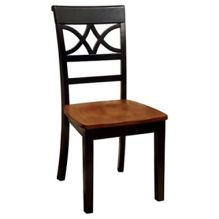 Country Style Back Design Side Chair Wood/Black/Oak (Set of 2