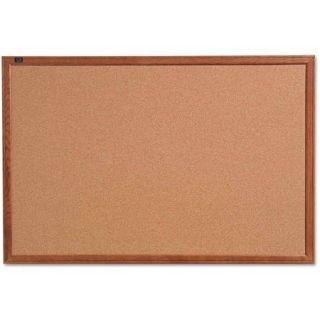 "Quartet Cork Bulletin Board, 24"" x 18"", Oak Finish Frame"