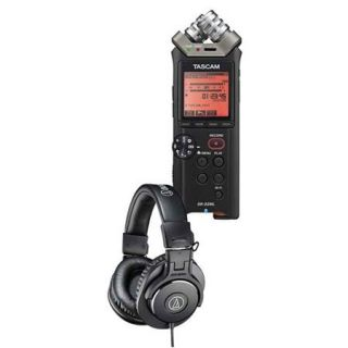 Tascam DR 22WL 2 Channels Handheld Audio Recorder with AT ATH M30x Pro Headphone DR 22WL A