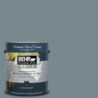 BEHR Premium Plus Ultra 1 gal. #N470 5 Norwegian Blue Satin Enamel Interior Paint 775401