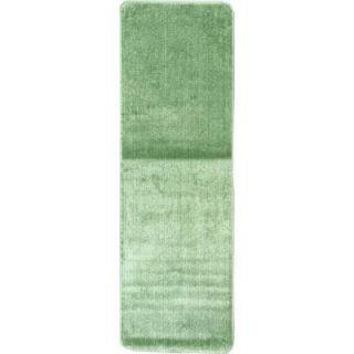 Ottomanson Solid Design Sea Green 1 ft. 8 in. x 4 ft. 11 in. Non Slip Bathroom Rug Runner SFT870015S 20X59