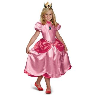 Girl's Super Mario Brothers Deluxe Princess Peach Halloween Costume   Child Size    Buyseasons